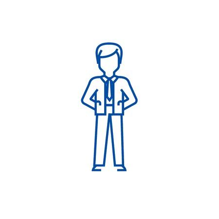 Businessman with hands back line concept icon. Businessman with hands back flat vector website sign, outline symbol, illustration.
