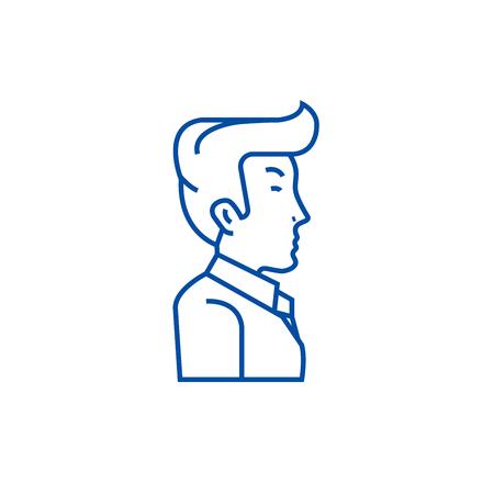 Businessman, manager, side view line concept icon. Businessman, manager, side view flat  vector website sign, outline symbol, illustration. Illusztráció