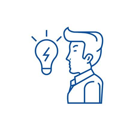 Businessman, side view, close up,  line concept icon. Businessman, side view, close up,  flat  vector website sign, outline symbol, illustration. Illusztráció