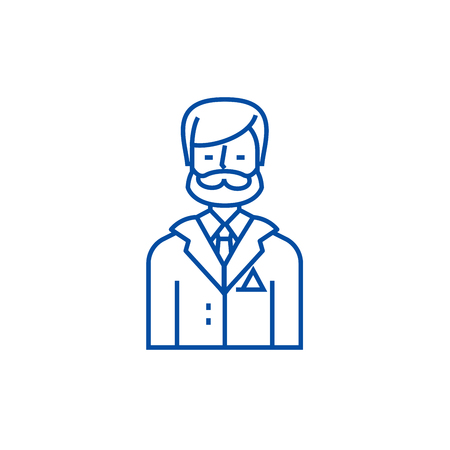 Businessman,business lawyer,legal adviser line concept icon. Businessman,business lawyer,legal adviser flat  vector website sign, outline symbol, illustration.