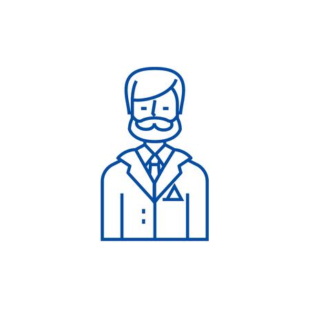 Businessman,business lawyer,legal adviser line concept icon. Businessman,business lawyer,legal adviser flat  vector website sign, outline symbol, illustration.