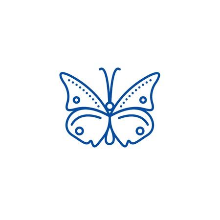 Butterfly line concept icon. Butterfly flat  vector website sign, outline symbol, illustration.
