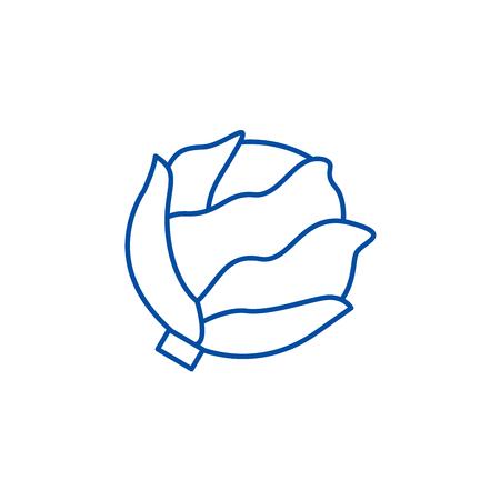 Cabbage line concept icon. Cabbage flat  vector website sign, outline symbol, illustration.