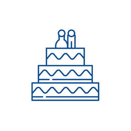 Cake for lovers line concept icon. Cake for lovers flat  vector website sign, outline symbol, illustration.