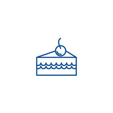 Cake slice with cherry line concept icon. Cake slice with cherry flat  vector website sign, outline symbol, illustration. Illustration