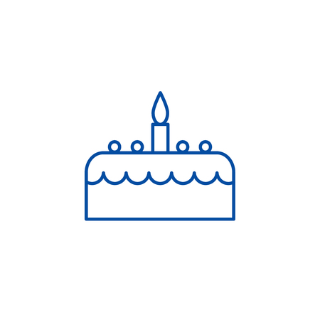 Cake with candle line concept icon. Cake with candle flat  vector website sign, outline symbol, illustration. Illustration