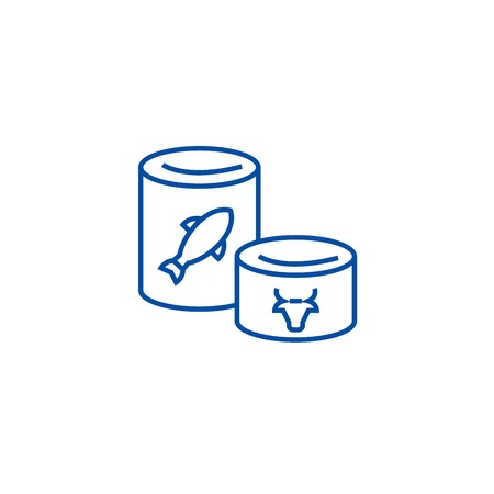 Canned goods line concept icon. Canned goods flat  vector website sign, outline symbol, illustration.