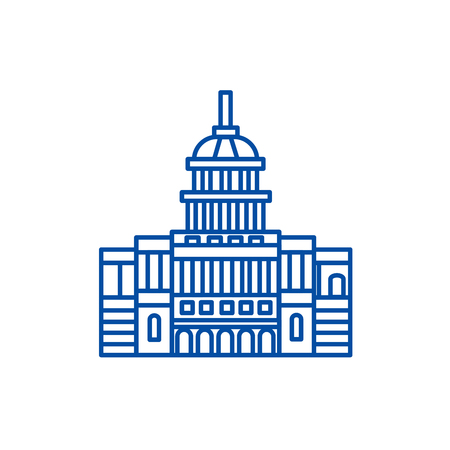 Capitol, usa line concept icon. Capitol, usa flat  vector website sign, outline symbol, illustration. 向量圖像