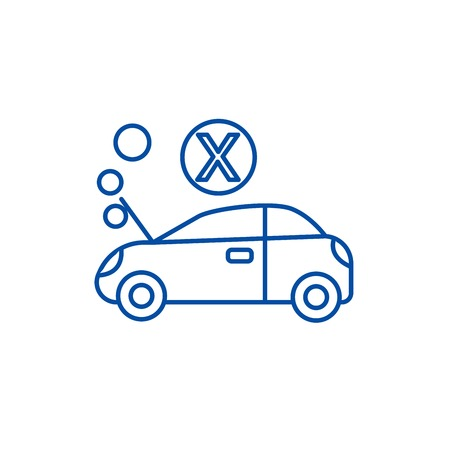 Car broke line concept icon. Car broke flat  vector website sign, outline symbol, illustration. Banque d'images - 119711456