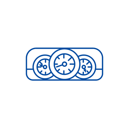 Car dashboard  line concept icon. Car dashboard  flat  vector website sign, outline symbol, illustration. 向量圖像