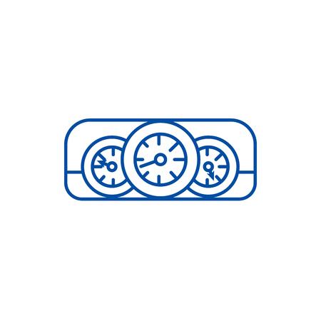 Car dashboard  line concept icon. Car dashboard  flat  vector website sign, outline symbol, illustration. Illustration