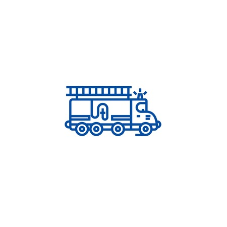 Car fire engine line concept icon. Car fire engine flat  vector website sign, outline symbol, illustration. Banque d'images - 119711484