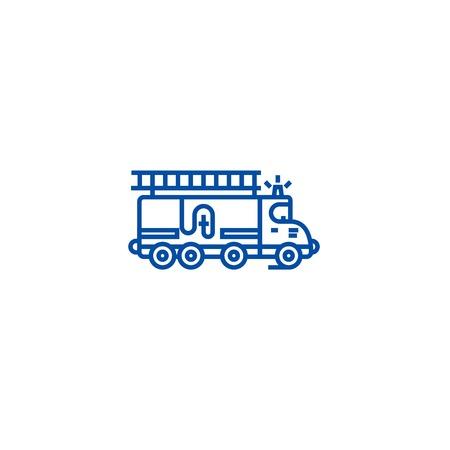 Car fire engine line concept icon. Car fire engine flat  vector website sign, outline symbol, illustration.