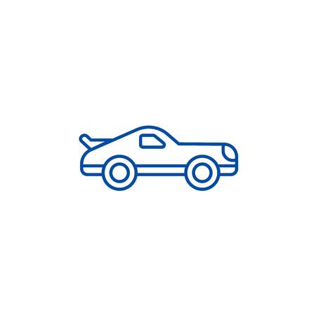 Car racing line concept icon. Car racing flat  vector website sign, outline symbol, illustration. 向量圖像