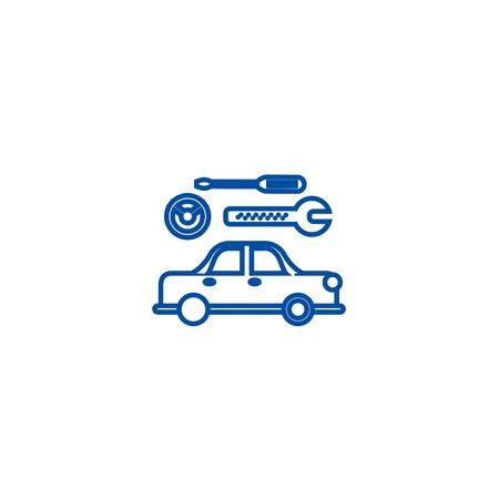 Car service sign line concept icon. Car service sign flat  vector website sign, outline symbol, illustration.