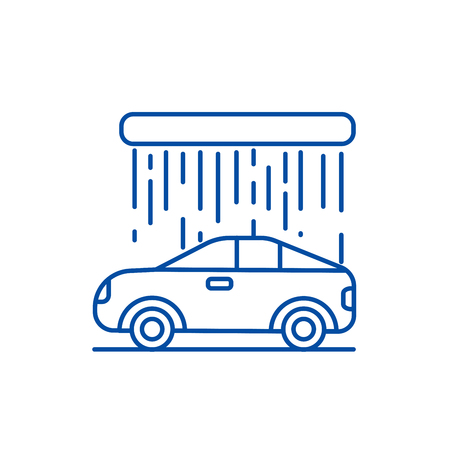 Car wash line concept icon. Car wash flat  vector website sign, outline symbol, illustration. Stock Vector - 119711506