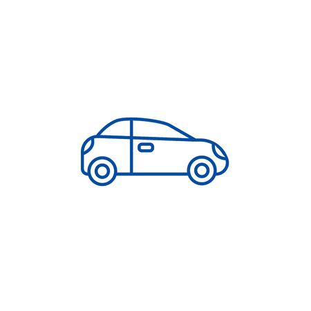 Car, sedan, vehicle line concept icon. Car, sedan, vehicle flat  vector website sign, outline symbol, illustration. Illustration