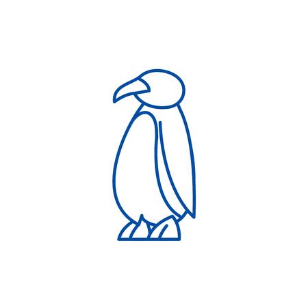 Cartoon penguin line concept icon. Cartoon penguin flat  vector website sign, outline symbol, illustration.