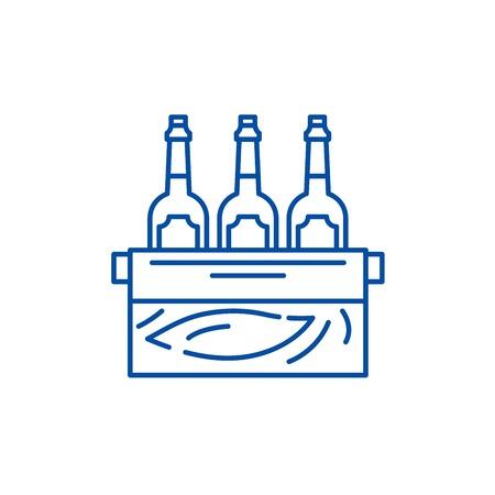 Case of beer line concept icon. Case of beer flat  vector website sign, outline symbol, illustration. Illusztráció