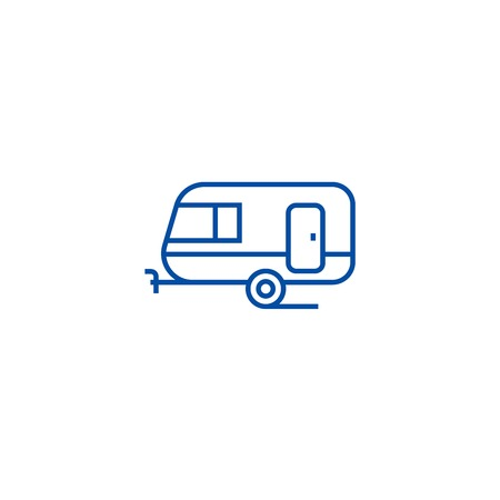 Caravan line concept icon. Caravan flat  vector website sign, outline symbol, illustration. Illustration