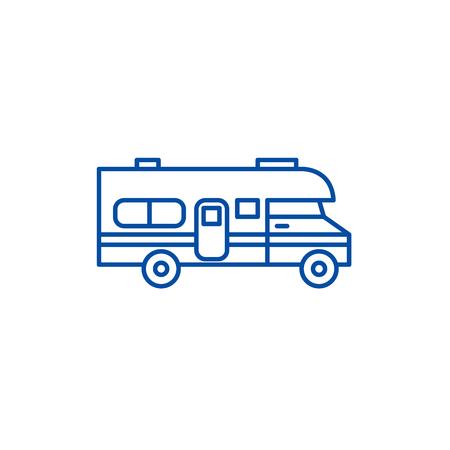 Caravan car line concept icon. Caravan car flat  vector website sign, outline symbol, illustration.