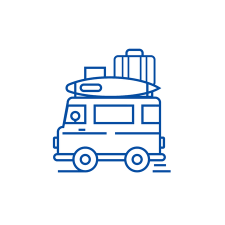 Caravan,travel camping trailer line concept icon. Caravan,travel camping trailer flat  vector website sign, outline symbol, illustration. Stock Illustratie