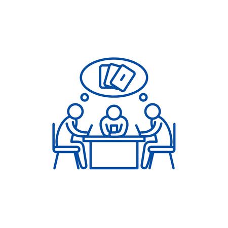Card game line concept icon. Card game flat  vector website sign, outline symbol, illustration.