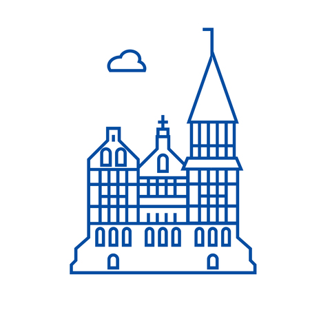 Cathedral, gothic church  line concept icon. Cathedral, gothic church  flat  vector website sign, outline symbol, illustration. 일러스트