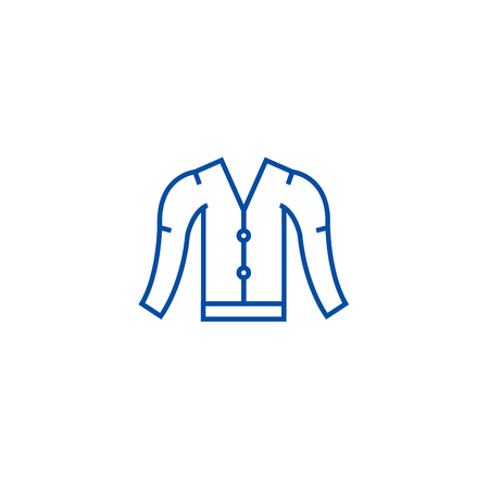 Cardigan line concept icon. Cardigan flat  vector website sign, outline symbol, illustration. 向量圖像