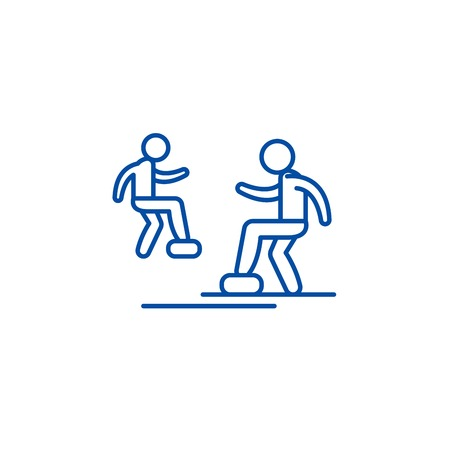 Cardio exercise line concept icon. Cardio exercise flat  vector website sign, outline symbol, illustration. 向量圖像