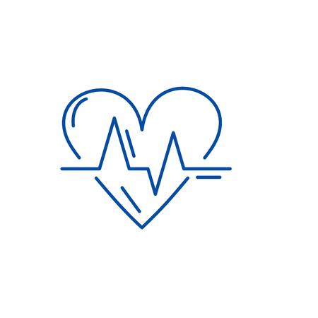 Cardiology line concept icon. Cardiology flat vector website sign, outline symbol, illustration.