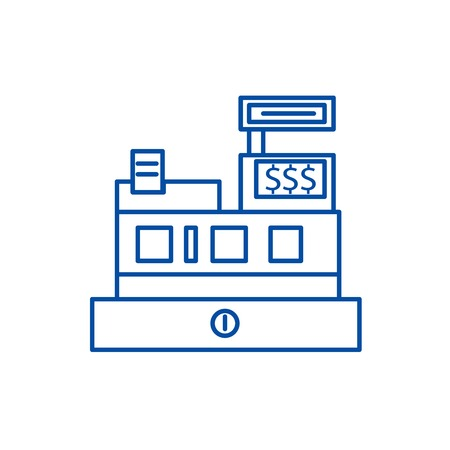 Cash machine,shop register line concept icon. Cash machine,shop register flat  vector website sign, outline symbol, illustration. Ilustrace