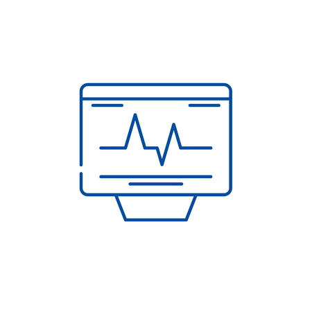 Cardiovascular check line concept icon. Cardiovascular check flat  vector website sign, outline symbol, illustration. Çizim