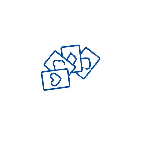 Cards game,poker line concept icon. Cards game,poker flat  vector website sign, outline symbol, illustration.