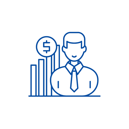 Career growth manager line concept icon. Career growth manager flat  vector website sign, outline symbol, illustration. Illustration