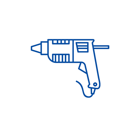 Caulk gun,glue gun line concept icon. Caulk gun,glue gun flat  vector website sign, outline symbol, illustration.