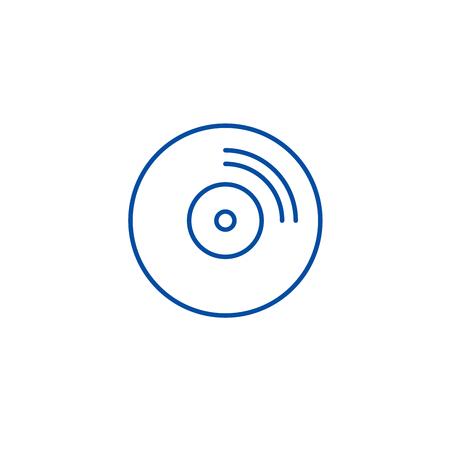Cd disc line concept icon. Cd disc flat  vector website sign, outline symbol, illustration.
