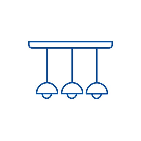 Ceiling light lamp  line concept icon. Ceiling light lamp  flat  vector website sign, outline symbol, illustration. Ilustração