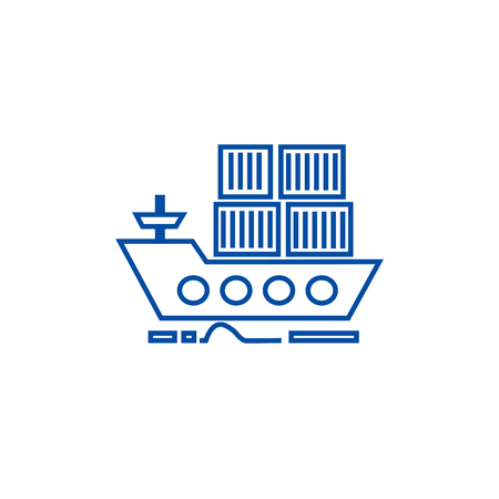 Cargo delivery by sea ship line concept icon. Cargo delivery by sea ship flat  vector website sign, outline symbol, illustration.