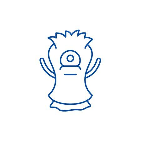 Cast line concept icon. Cast flat  vector website sign, outline symbol, illustration.