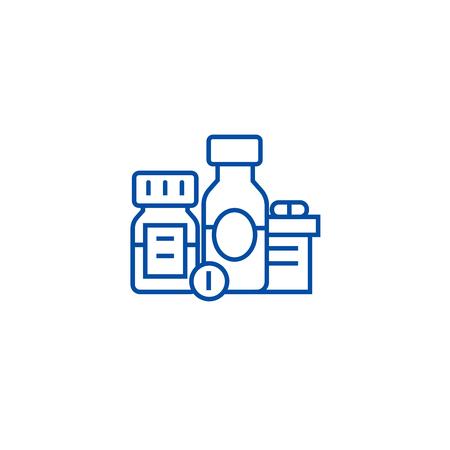 Baa, aditivos biológicamente activos, píldoras, icono del concepto de línea de medicamentos. Baa, aditivos biológicamente activos, píldoras, medicamentos vector plano sitio web de señal, símbolo de esquema, ilustración.