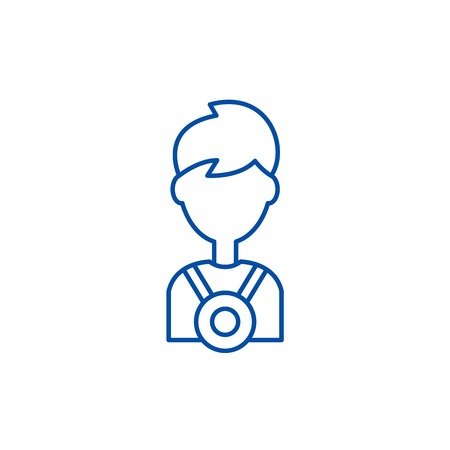 Champion line concept icon. Champion flat  vector website sign, outline symbol, illustration.
