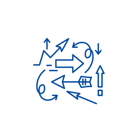 Chaos theory line concept icon. Chaos theory flat  vector website sign, outline symbol, illustration.