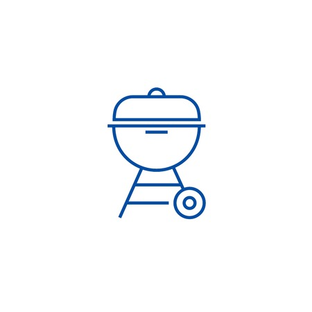 Charcoal grill  line concept icon. Charcoal grill  flat  vector website sign, outline symbol, illustration. Illustration