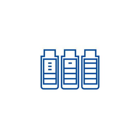 Charging battery line concept icon. Charging battery flat  vector website sign, outline symbol, illustration. Illustration
