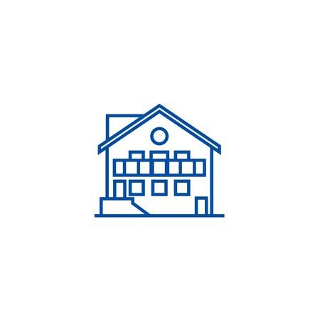 Chalet line concept icon. Chalet flat  vector website sign, outline symbol, illustration. Banque d'images - 119711630