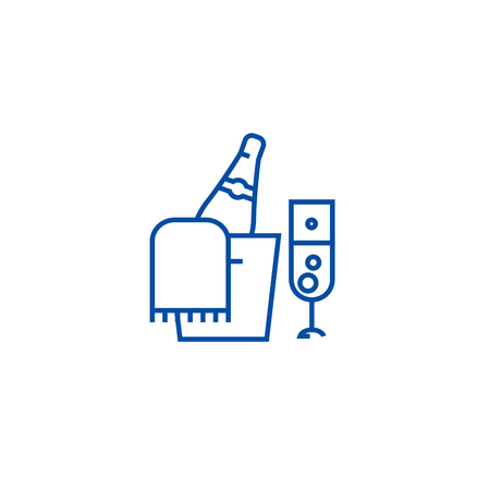 Champagne bottle and glass line concept icon. Champagne bottle and glass flat  vector website sign, outline symbol, illustration.