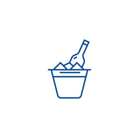 Champagne in bucket line concept icon. Champagne in bucket flat  vector website sign, outline symbol, illustration. Archivio Fotografico - 119711641