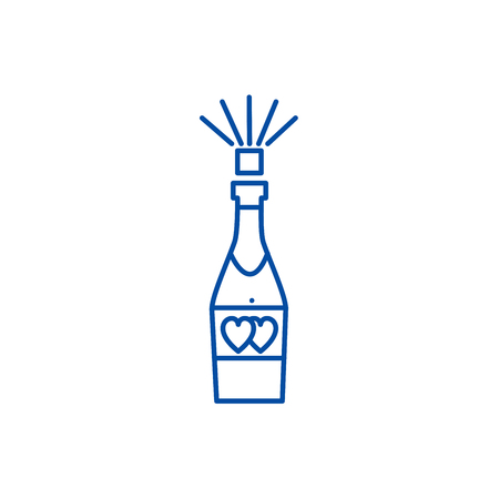 Champagne popping line concept icon. Champagne popping flat  vector website sign, outline symbol, illustration.