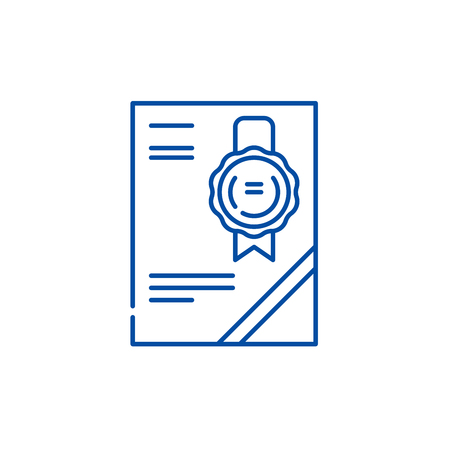 Cerificate line concept icon. Cerificate flat  vector website sign, outline symbol, illustration. Illustration